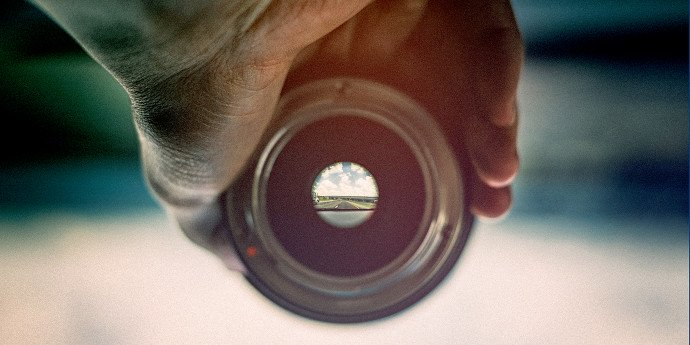 looking through a camera lens at the road ahead