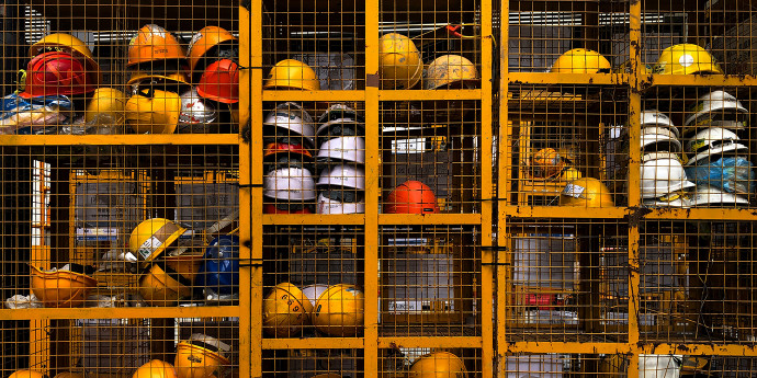 storage container of safety hard hats